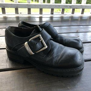 Mens Bed Stu Black Leather Y2K Chunky Buckle Shoes